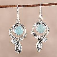 Blue topaz and larimar dangle earrings, 'Eternal Blue' - Blue Topaz and Larimar Dangle Earrings from India