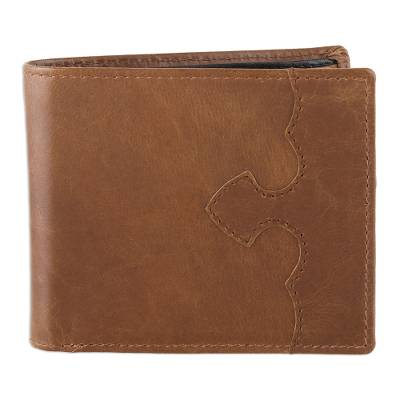 Handmade Leather Wallet in Redwood from India