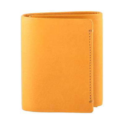 Handmade Leather Wallet in Amber from India