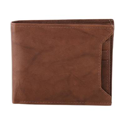 Handmade Leather Wallet in Coffee from India