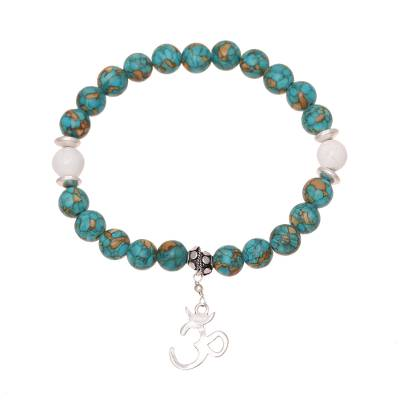 Howlite and Composite Turquoise Om Bracelet from India
