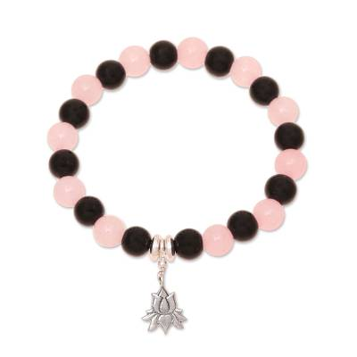 Rose quartz and onyx beaded stretch bracelet, 'Peaceful Lotus' - Rose Quartz and Onyx Lotus Bracelet from India