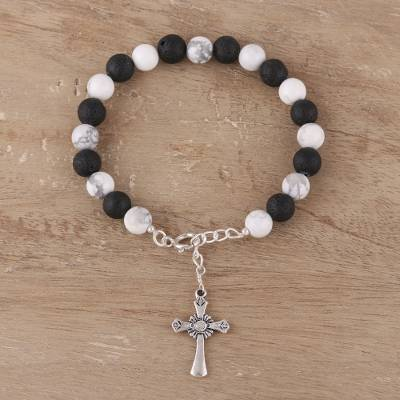 Howlite and lava stone beaded bracelet, 'Faith for Eternity' - Howlite and Lava Stone Cross Bracelet from India