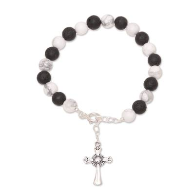 Howlite and Lava Stone Cross Bracelet from India