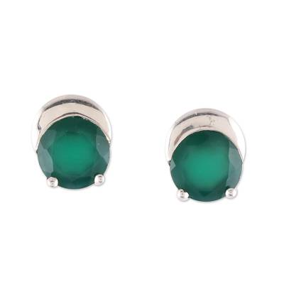 Sparkling Green Onyx Stud Earrings from India