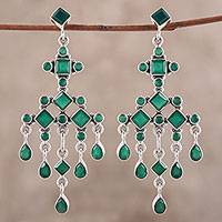 Onyx chandelier earrings, 'Fountain' - Green Onyx Chandelier Earrings from India