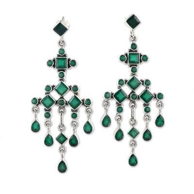 Green Onyx Chandelier Earrings from India