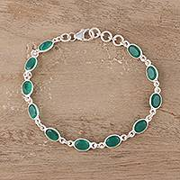 Onyx tennis bracelet, 'Romantic Green' - Green Onyx Tennis Bracelet from India