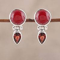 Carnelian and garnet dangle earrings, 'Flirty Moons' - Carnelian and Garnet Dangle Earrings from India