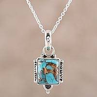 Sterling silver and composite turquoise pendant necklace,