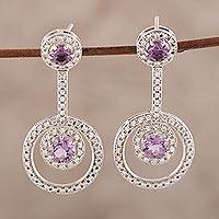 Amethyst drop earrings, 'Endless Love' - Faceted Amethyst Drop Earrings from India