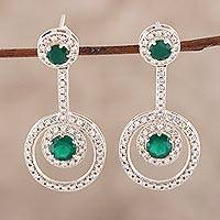 Onyx drop earrings, 'Endless Love' - Green Onyx Drop Earrings Crafted in India