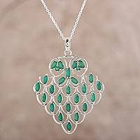 Onyx pendant necklace, 'Love Sonnet' - Green Onyx Pendant Necklace Crafted in India