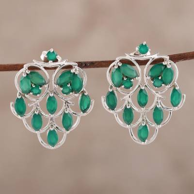 Onyx drop earrings, 'Love Sonnet' - Green Onyx Drop Earrings Crafted in India