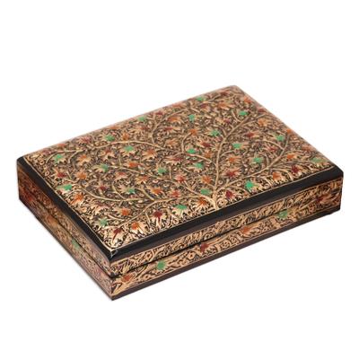 Gold-Tone Leaf Motif Papier Mache Decorative Box from India