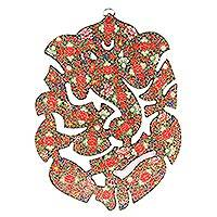 Wood wall art, 'Floral Ganesha' - Floral Ganesha-Themed Wood Wall Art from India