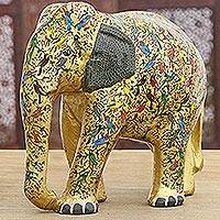Papier mache sculpture, 'Golden Elephant' - Hand-Painted Papier Mache Elephant Sculpture from India