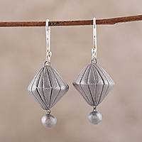 Ceramic dangle earrings, 'Dancing Prisms' - Handcrafted Silver Toned Ceramic Dangle Earrings from India