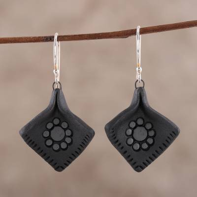 Ceramic dangle earrings, 'Black Petals' - Hand-Painted Ceramic Dangle Earrings with Floral Motifs