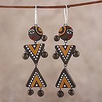 Ceramic dangle earrings, 'Tribal Dance' - Hand-Painted Tribal Motifs Ceramic Dangle Earrings