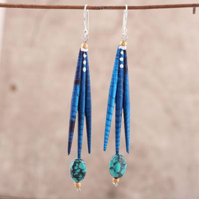 Recycled paper and dolomite dangle earrings, 'Blue Spikes' - Blue Recycled Paper and Recycled Paper Earrings from India
