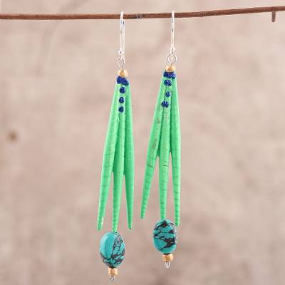 Recycled paper and dolomite dangle earrings, 'Green Spikes' - Recycled Paper and Dolomite Dangle Earrings in Green