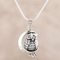 Sterling silver pendant necklace, 'Crescent Moon Owl' - Sterling Silver Crescent Owl Pendant Necklace