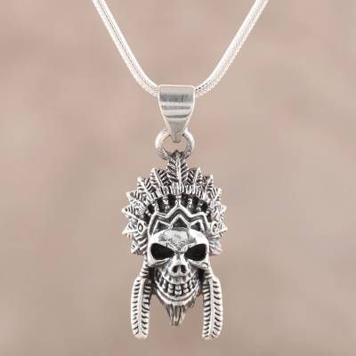 Men's sterling silver pendant necklace, 'Warrior Skull' - Men's Sterling Silver Warrior Skull Pendant Necklace