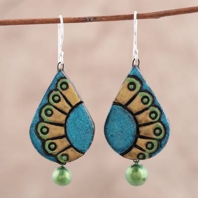 Ceramic dangle earrings, 'Feather Droplet' - Hand-Painted Droplet Ceramic Dangle Earrings from India