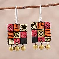Ceramic chandelier earrings, 'Creative Fusion' - Hand-Painted Square Ceramic Chandelier Earrings from India