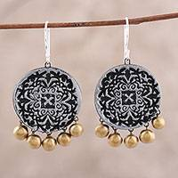 Ceramic chandelier earrings, 'Silver Medallions' - Silver-Tone Ceramic Chandelier Earrings from India