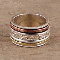 Sterling silver spinner ring, 'Exciting Garden' - Sterling Silver Spinner Ring Crafted in India