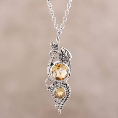 Citrine pendant necklace, 'Classic Glory' - Leafy Citrine Pendant Necklace from India