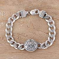 Men's rhodium plated sterling silver pendant bracelet, 'Roar of the Lion' - Men's Rhodium Plated Sterling Silver Lion Bracelet