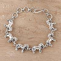 Sterling silver link bracelet, 'Galloping Horses' - Sterling Silver Horse Link Bracelet from India