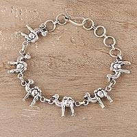 Sterling silver link bracelet, 'Desert Ferry' - Sterling Silver Camel Link Bracelet from India