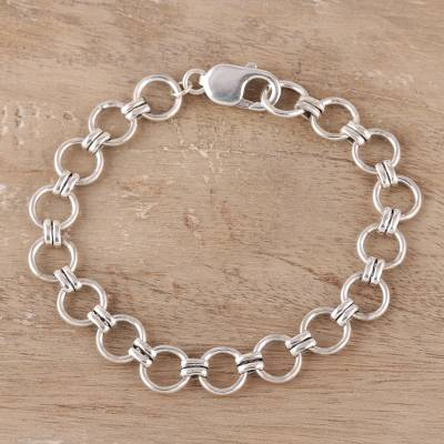 Sterling silver link bracelet, Contemporary Circles