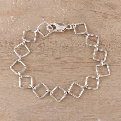 Sterling silver link bracelet, Contemporary Squares