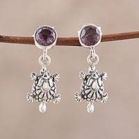 Amethyst dangle earrings, 'Turtle Essence' - Amethyst Turtle Link Bracelet from India