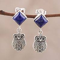 Lapis lazuli dangle earrings, 'Royal Owls' - Lapis Lazuli Owl Dangle Earrings from India