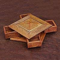 Brass inlay wood jewelry box, 'Creative Delight' - Brass Inlay Wood Jewelry Box Crafted in India