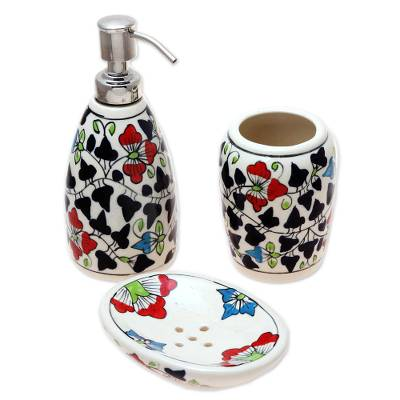 Colorful Floral Ceramic Bathroom Set from India (Set of 3)
