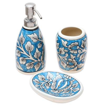 Floral Ceramic Bathroom Set in Light Blue (Set of 3)