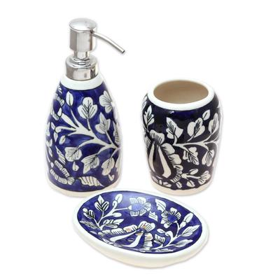 Floral Ceramic Bathroom Set in Dark Blue (Set of 3)
