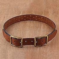 Leather belt, 'Classic Elegance in Chestnut' - Handcrafted Leather Belt in Chestnut from India
