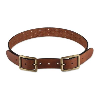 Handcrafted Leather Belt in Chestnut from India