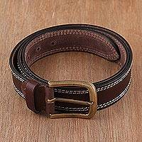 Men's leather belt, 'Classic Espresso' - Handcrafted Men's Leather Belt in Espresso from India
