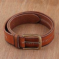 Men's leather belt, 'Timeless Appeal in Spice' - Handcrafted Men's Leather Belt in Spice from India