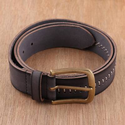 Men's leather belt, 'Timeless Appeal in Charcoal' - Handcrafted Men's Leather Belt in Charcoal from India