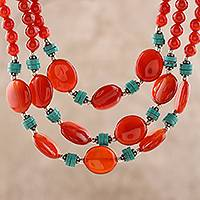 Carnelian and calcite beaded strand necklace, 'Cascading Sunset' - Carnelian and Calcite Beaded Strand Necklace from India